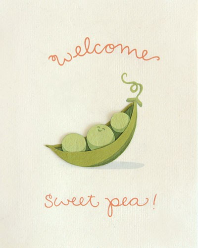 Welcome Sweet Pea Card
