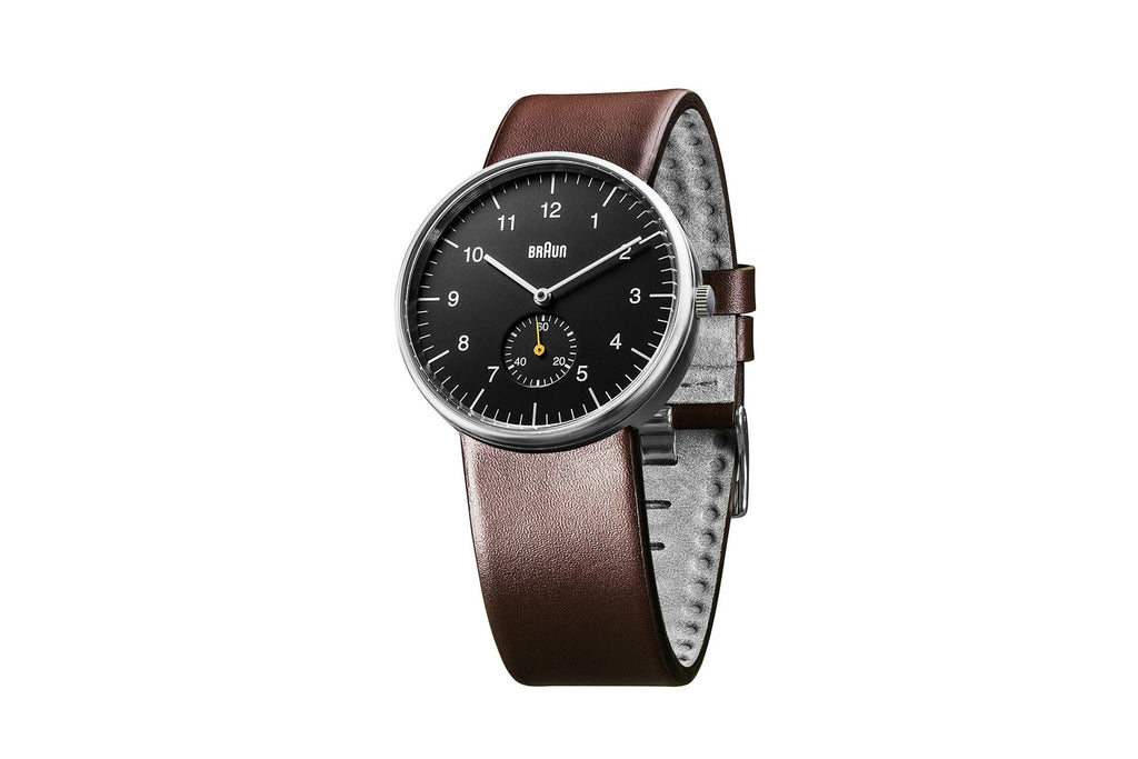 Braun Analog 38mm Black Dial w/ Small Second Dial, Brown Band