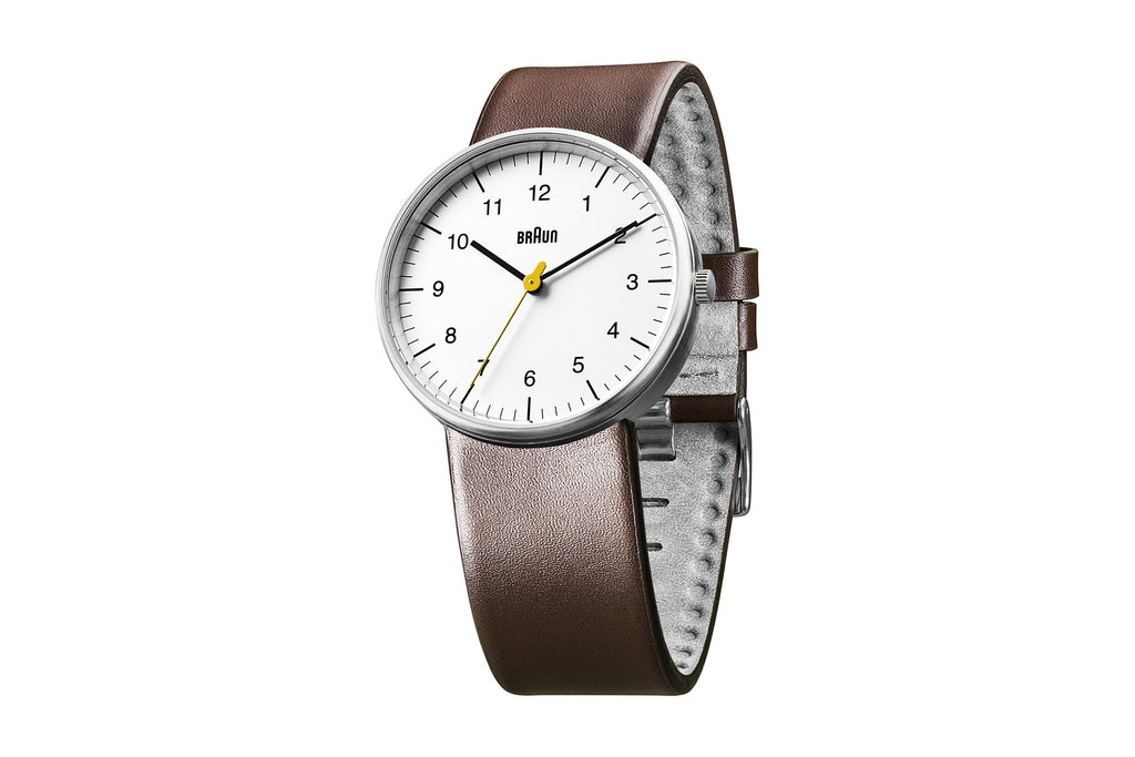 Braun Men's Analog, White Face, Brown Leather Band Watch