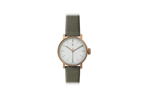 V03P Petite Round Analog Watch, Olive