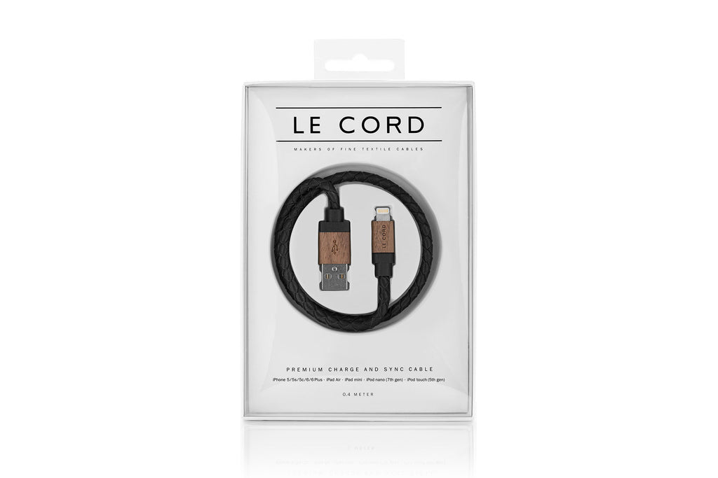 Black Leather / Dark Wood Premium Lightning Cable