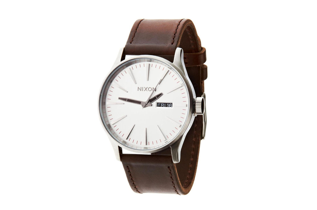 Sentry Leather Watch Silver/Brown