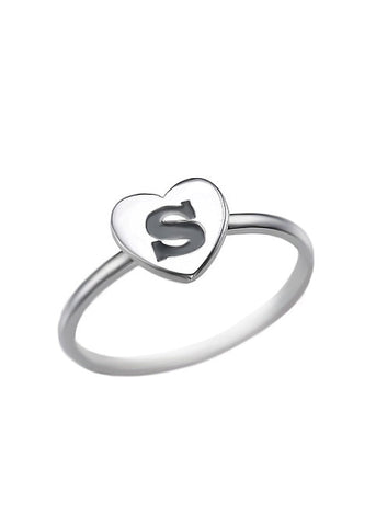 Alphabet Heart Initial Ring in Sterling Silver