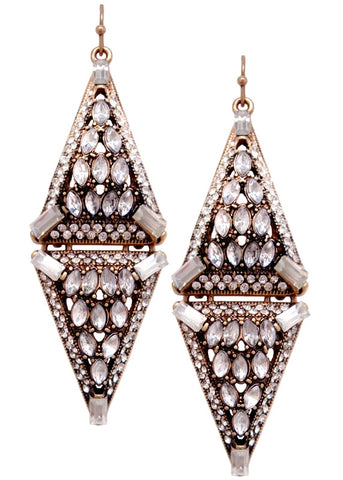 Art Deco Crystal Triangle Drop Earrings