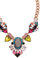 Aztec Colorblock Collar Necklace Crystal Statement Jeweled Stone Bib