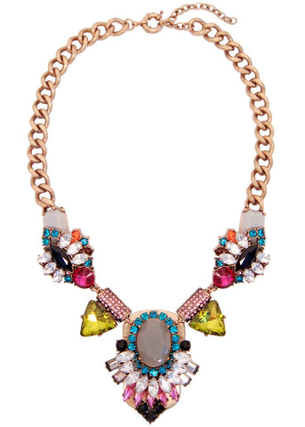 Aztec Colorblock Collar Necklace Crystal Statement Bib
