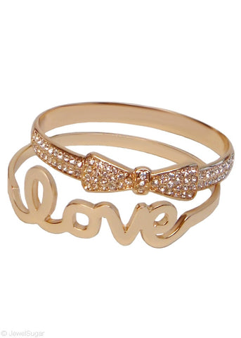 Bow Tie Love Bangle Set