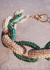 Candy Emerald Crystal Pavé Links Bracelet