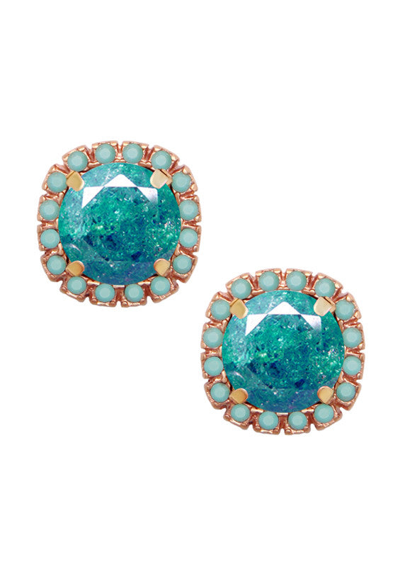 FrostSugar™ Pave Crystal Cut Studs - Turquoise + Caribbean Blue