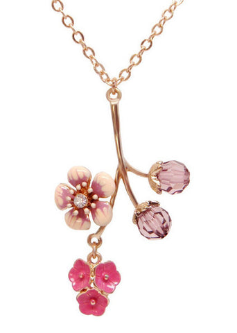 Girls Cherry Blossom Necklace Flower Pendant in 14k Gold Plated