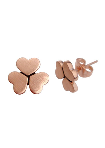 Clover Heart Stud Earrings in 18k Brushed Rose Gold Studs