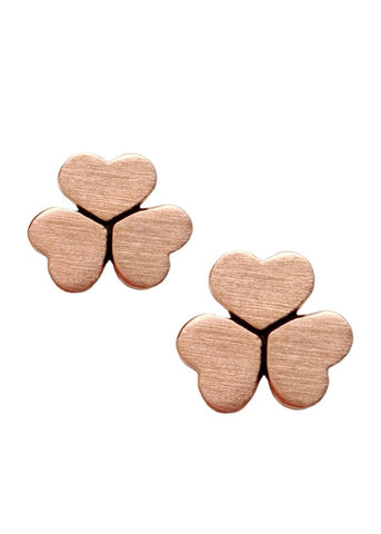 Clover Heart Earrings in 18k Rose Gold Stud Earrings