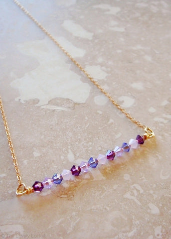Crystal Baubles on a Bar 14k Necklace - Sugar Plum