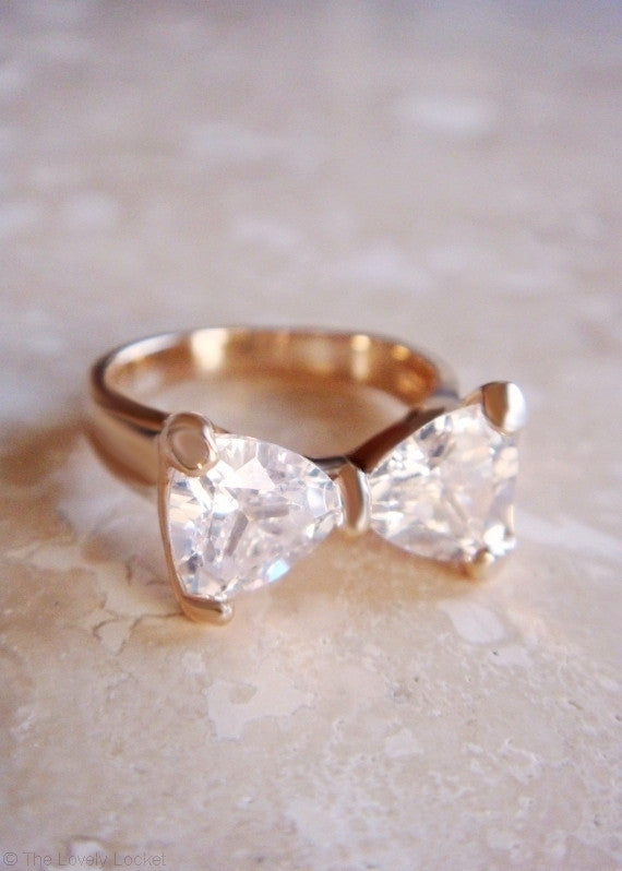 Crystal Bow Tie Ring - 18k Gold