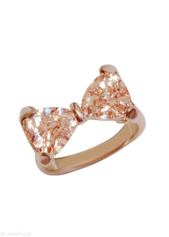 Champagne Crystal Bow Tie Ring in 18k Gold