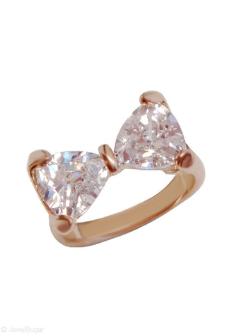 Crystal Bow Tie Ring 18k Gold Plated