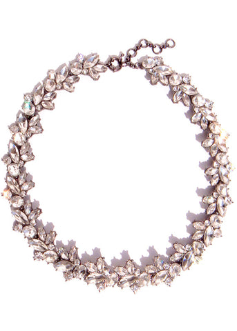 Crystal Flurry Collar Necklace - Hematite Gray