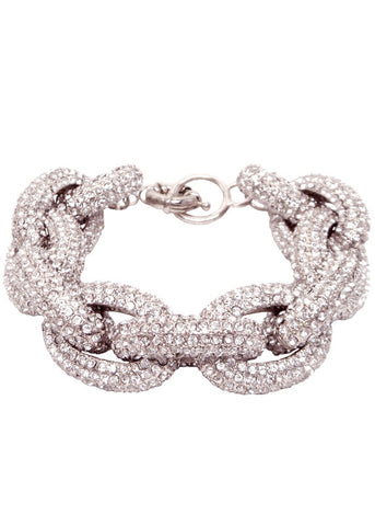 Crystal Pave Links Silver Bracelet