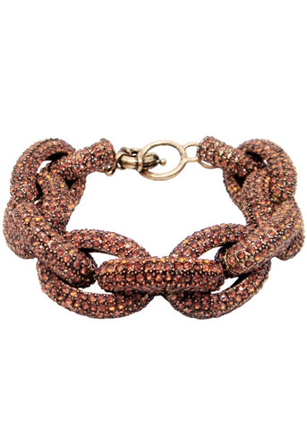 Crystal Pave Links Bracelet Roasted Acorn Color Link Statement Bracelet
