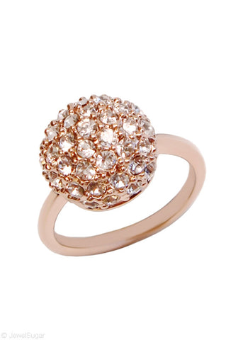 Crystal Pave Sphere Ring