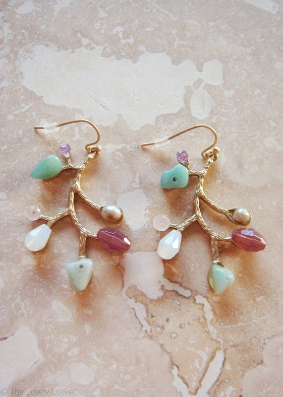 Crystal Leaf Earrings