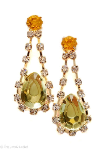 Crystalline Color Drop Earrings in Citrus