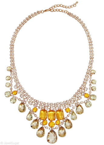 Crystalline Color Drop Necklace in Citrus