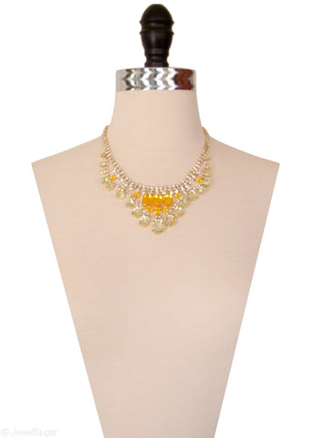 Crystalline Color Drop Necklace in Crystal Citrus