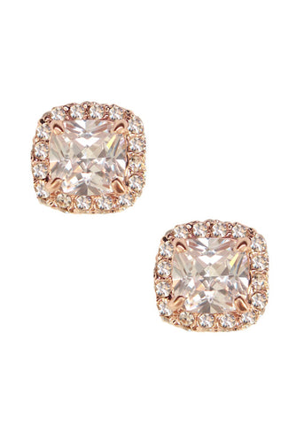Cushion Cut Pave Sparkler Earrings Crystal Stud in 14k Rose Gold Plated