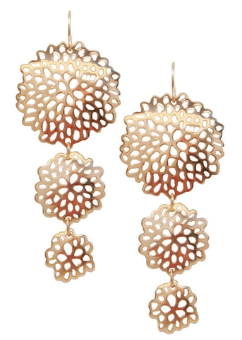 Dahlia Filigree Drop Earrings 14k Gold Plated