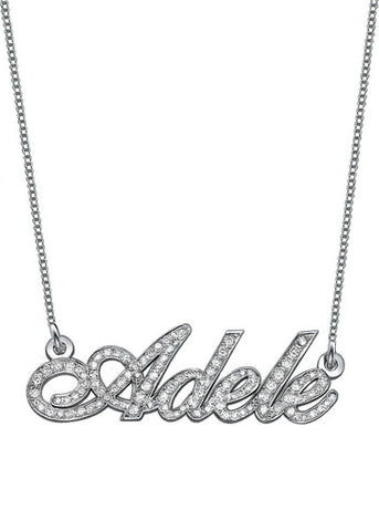 Diamond Encrusted 14k Solid White Gold Nameplate Necklace