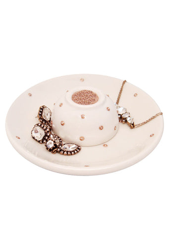 Ceramic Jewelry Tray Dish Set Ivory 18k Gold Crystal Dots