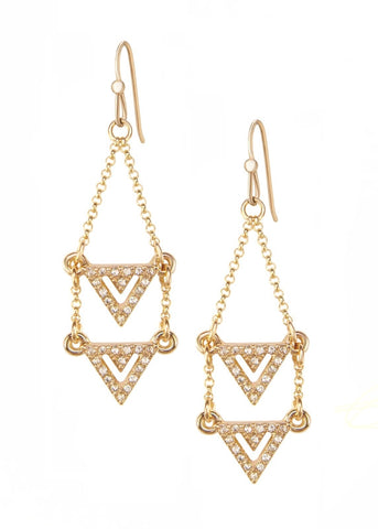 Double Pave Crystal Chevron Drop Earrings - 14k Gold-Filled