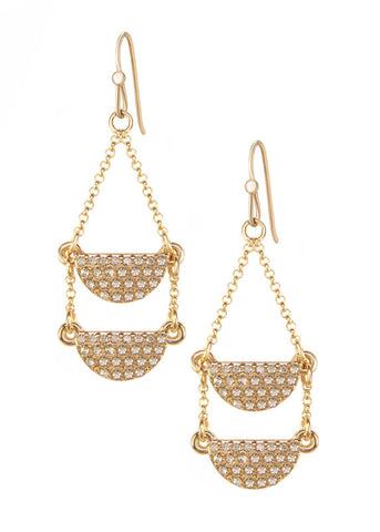 Double Pave Crystal Half Moon Drop Earrings - 14k Gold-Filled