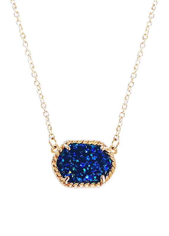 Druzy Pop Rock Pendant Necklace Midnight Mermaid Blue
