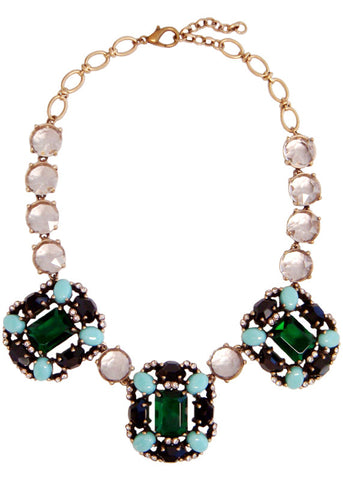 Emerald Brooch Collar Necklace
