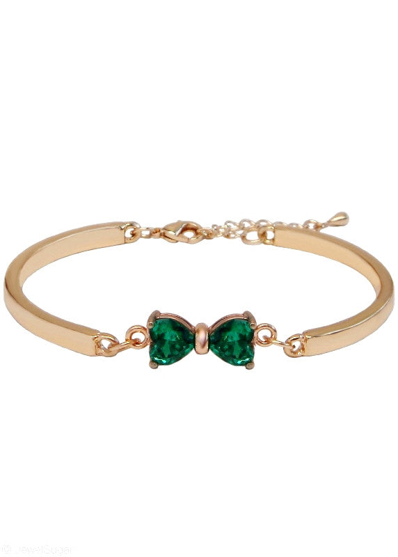 Emerald Bow Tie Bracelet Crystal Emerald Green Bangle