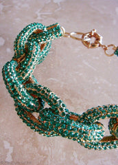 Emerald Crystal Pave Links Bracelet