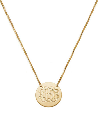 Gold Vermeil Engraved Monogram Pendant Necklace - Personalize Me!