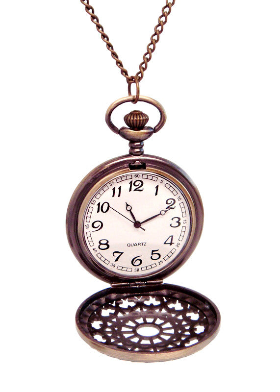 Antique Gold Pocket Watch Necklace Pendant in Antique Gold Quartz