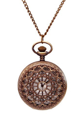 Equestrian Pocket Watch Pendant Necklace in Antique Gold Quartz