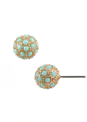 Aqua Blue Ball Stud Earrings