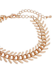 Fishbone Link Strand Bracelet 18k Rose Gold Fish Bone Zoom