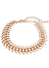 Fishbone Link Strand Bracelet in 18k Rose Gold Fish Bone