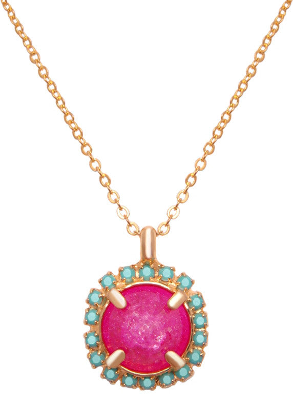 FrostSugar™ Pave Diamond Cut Pendant Necklace 14k Gold Filled - Turquoise + Fuchsia