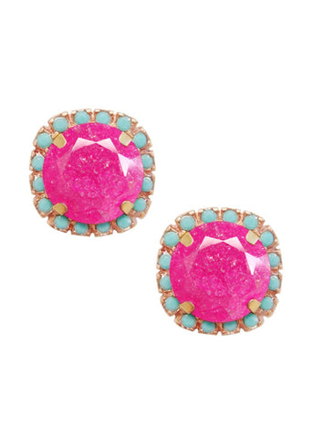 FrostSugar™ Pave Frosted Crystal Cut Studs - Turquoise and Fuchsia