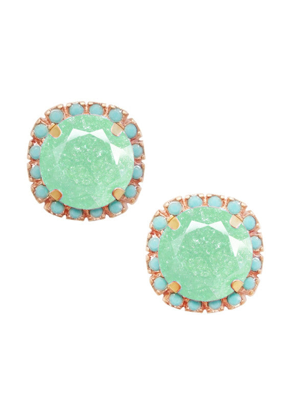 FrostSugar™ Pave Frosted Crystal Cut Studs - Turquoise and Mint