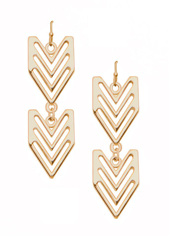 Double Chevron Drop Earrings in Gold