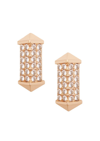 Gold Pave Lantern Stud Earrings