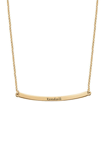 Gold Vermeil Curved Nameplate Necklace - Personalize Me!